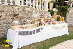 Wedding, theme rustic Rental jars and decoration setting, Candy bar, sweet buffet, lemonade bar, s'mores bar,...