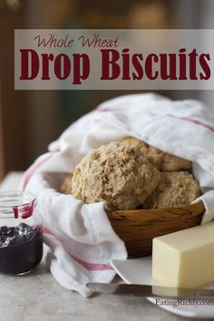 These whole wheat drop biscuits are healthy, fast, and simple. Includes easy #dairyfree and #vegan substitutions.  EatingRichly.com