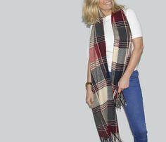 Soft Tartan Blanket Scarf with Tassels Red Navy & Cream
