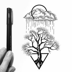 """""""Look deep into the nature, and then you will understand everything better."""" ~ Albert Einstein ✨ Tattoo design, had a quite hard time with it tbh ✨ #brokenisntbad #illustration #drawing #sketch #artgallery #art #tatuaje #artwork #instaart #handdrawn #inkaddict #inkstagram #blackflashwork #iblackwork #quotes #inkwork #linework #tattoo #tattooflash #tattooart #blacktattoo #blackandwhite #onlyblackart #nature #landscape #trees #rain #clouds #geometric #shapes"""