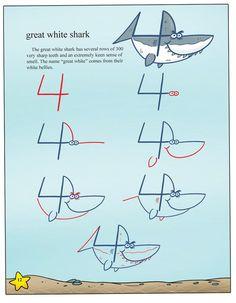 Com o número 4 também se faz um tubarão!