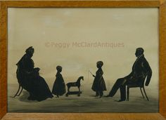 Antique Conversation Silhouette of the James Strong Family