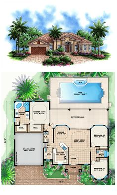 COOL House Plan ID: chp-46835 | Impressive 12 & 13' ceilings grace the common areas of this house plan creating an easy living open floor plan for all to enjoy. Keeping with a Mediterranean influence, this house design features large windows, and tiled roof with large overhangs. This also helps to make the home energy efficient with a large portion of the back covered. #concretewalls #houseplan