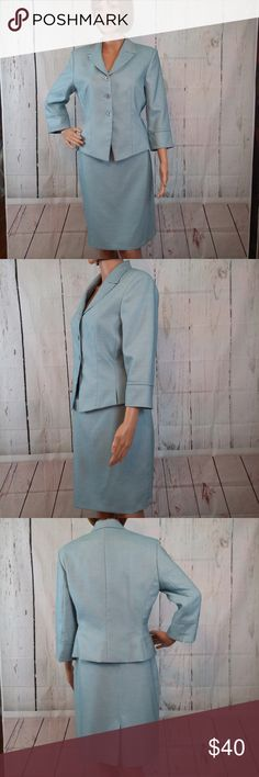 """Kasper Lt. Blue 2-Piece Size 8P Career Skirt Suit Kasper Light Blue 2-Piece Size 8 Career Skirt Suit  Gently used, clean and in good pre-owned condition.  Jacket:  chest = 36"""" (armpit to armpit) and 22"""" long (waist to hem)  Skirt Length = 22"""" (waist to hem) Skirt Waist = 30"""" (hip to hip) Material:  100% Polyester Features:   Fully Lined, Built in Shoulder Pads  No trades or modeling of clothing, jewelry, accessories or shoes.  If additional measurements are required to ensure the perfect fit…"""