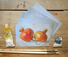 Did you know that pomegranates are a symbol of abundance & prosperity?  They make great well-wishing cards. Pomegranate Postcards set of 5 fruit by BarraganPaintings on Etsy, €7.00 #pomegranate #art