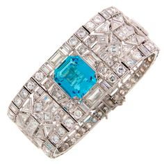 A 15.50 carat Aquamarine and 54.50 carats of Diamonds in a Platinum Bracelet, ca. 1960s