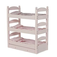 """18 Inch Doll Triple Bunk Bed - Stackable Wooden Furniture Made to Fit American Girl or Other 18"""" Dolls Emily Rose Doll Clothes http://www.amazon.com/dp/B00476O4N2/ref=cm_sw_r_pi_dp_dks3wb1ED7T9W"""