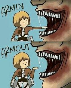 shingeki no kyojin, attack on titan, snk, armin arlert Anime Meme, Otaku Anime, Manga Anime, Anime Naruto, Naruto Art, Anime Chibi, Kawaii Anime, Armin Titan Form, Attack On Titan Meme