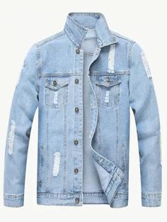 2528a6a0ef23 SheIn offers Men Ripped Solid Denim Jacket   more to fit your fashionable  needs.