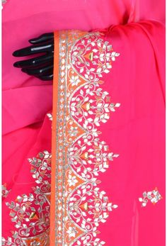 Pure Satin Embroidery-Pink-Gota Work-WG203075 Hand Work Embroidery, Hand Embroidery Designs, Indian Embroidery, Gota Patti Saree, Rajasthani Dress, Embroidery Suits Punjabi, Sari Blouse Designs, Work Blouse, Indian Designer Wear