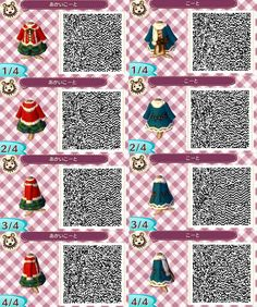 Animal Crossing Christmas Outfit QR Codes.