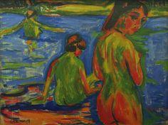 Ernst Ludwig Kirchner (Germany Im See badende Mädchen, Moritzburg - Girls bathing in the lake, Moritzburg oil on canvas, x 120 cm Ernst Ludwig Kirchner, Davos, Expressionist Artists, Bath Girls, Art Station, Emil Nolde, Illustrations, Beach Art, Female Art