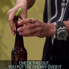 Learn how to quickly pit a cherry using a chop stick and a bottle!
