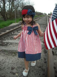 Patriotic 4th of July Girl Dress by AllissonsCreations on Etsy, $22.50 --- such a great price! Sophie's outfit for this coming 4th of July! :D