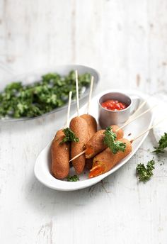 carrot corn dogs with kale chips