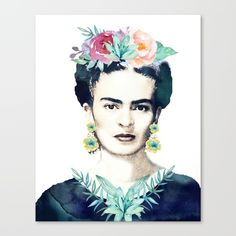 Frida Kahlo with watercolor flower crown.