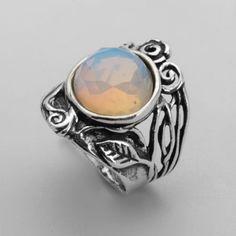Vintage-Shablool-Didae-Sterling-Silver-Ring-Opalite-Milky-white-Ladies-Women
