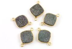 Marine Green Sparkly Druzy CrystalCushion Connector by Beadspoint, $7.99