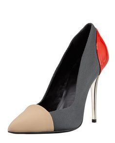 Single+Sole+Pointed+Pump,+Grey/Red/Tan+by+Proenza+Schouler+at+Bergdorf+Goodman.