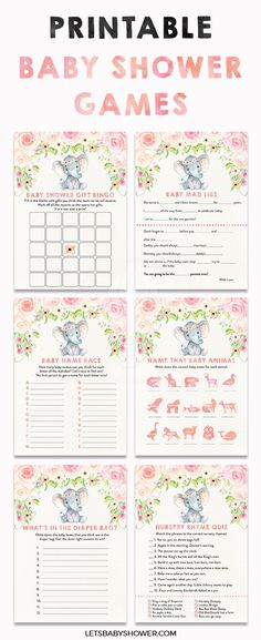 Printable Baby Shower Games: Elephant Baby Shower Idea for Girls Floral Watercolor