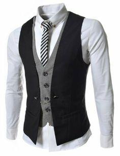 TheLees Mens premium layered style slim vest waistcoat steampunk