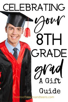 Do you have a son graduating eighth grade in the middle of a pandemic? Even though there probably won't be a ceremony, they still deserve to be celebrated. Finding the perfect gift can be tricky, but we've compiled a list of great ideas! Graduation Gifts For Boys, 8th Grade Graduation, Birthday Gifts For Boys, Grad Gifts, Middle School Boys, Presents For Boys, Eighth Grade, Graduate School, Gift Guide