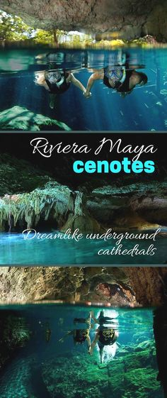 Riviera Maya, Mexico - With their stalactites and stalagmites, and pools of water shining an unearthly blue, Riviera Maya cenotes look like wondrous underground cathedrals. You can swim and snorkel inside many! Mexico Vacation, Mexico Travel, Vacation Spots, Maui Vacation, Tulum Mexico, Mayan Riviera Mexico, Rivera Maya Mexico, Usa Travel Map, Travel Europe