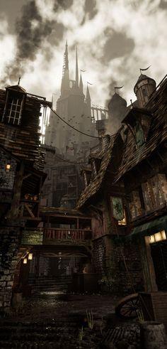 Dark Fantasy Art, Fantasy Artwork, Fantasy Concept Art, Fantasy City, Fantasy Places, Fantasy Story, Fantasy World, High Fantasy, Fantasy Love