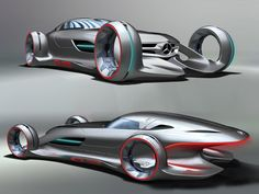"""Silver Arrow"" Mercedes-Benz concept car in ""Silver Lightning"" - futuristic racing car inspired by the W125 series from the 1930s and by sci-fi movies - created by Hubert Lee, Jackson Luttig, Yasu Sato, Alan Barrington for the 2011 LA auto show, Hollywood movie car Design Challenge"