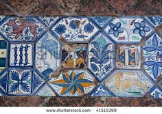 Ancient floor ceramic tile. Villa d'Este, Tivoli, Italy.