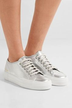 Common Projects - Tournament metallic leather sneakers - #metallicleather - Common Projects - Tournament metallic leather sneakers... Leather Espadrilles, Leather Sneakers, Leather Sandals, Leather Boots, Gold Ballet Flats, Leather Ballet Flats, Metallic Leather, Leather And Lace, Block Heel Loafers