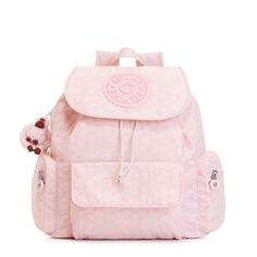 Kirsty II Drawstring Backpack - Cupcake Pink Embossed Daisies | This backpack is just adorable, if we do say so ourselves. Complete with a laidback drawstring silhouette and snap flap closure, it's primed to be your handbag replacement with its helpful zip and slip pockets and easy-carry shoulder straps.