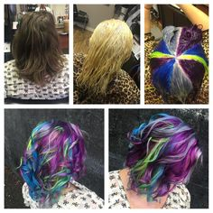 The Pravana and Olaplex gods were good to me this afternoon, as I took someone's (hair) virginity:). 10vol on the roots, 20vol on miss haft to ends, a splash of olaplex and 45 minutes of processing time with a fancy shower cap. Next came the colors! Pravana silver, neon green, followed by some Pravana locked in blue, and locked in purple. Process for 20-30 minutes. 3.5 hours later, this master piece was born…