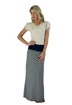 Soft and stretchy, this chevron striped maxi skirt is easy to love and easy to wear! Dress it up or down. It will quickly become one of your favorites!! Modest Skirts: Chevron Maxi Skirt in Navy/Cream Stripes