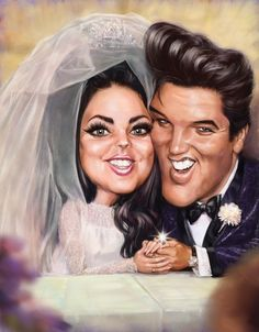 Elvis and Priscilla Presley wedding photo