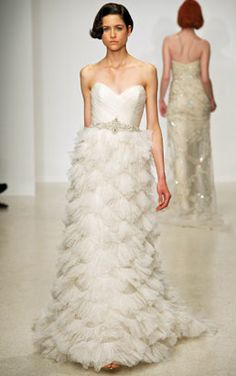 Unique feathery look wedding gown