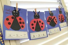 Make lovely ladybug crafts using paper plates, egg cartons, bottle caps, rocks, and more! These DIY project ideas are fun and easy activities for kids. Kindergarten Math Activities, Preschool Math, Kindergarten Classroom, Fun Math, Craft Activities, Kindergarten Addition, Math Games, Kindergarten Freebies, Subtraction Activities