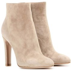 Gianvito Rossi Dana High Bootie Suede Ankle Boots ($980) ❤ liked on Polyvore featuring shoes, boots, ankle booties, beige, beige booties, gianvito rossi boots, beige suede boots, suede bootie and short suede boots