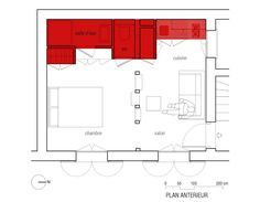 25 Sqm Red-White Small Apartment Interior Design - ArchInspire