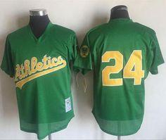 97d9484f5ba Mitchell And Ness 1998 Athletics  24 Rickey Henderson Green Throwback  Stitched MLB Jersey Rickey Henderson