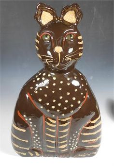 """18.5"""" High"""" x 11"""" Wide Redware Cat with Stripes and Dots (One of a Kind)"""