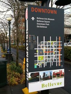 City of Bellevue Wayfinding >> color-coded icons to identify points of interest Signage Design, Map Design, Brochure Design, Environmental Graphic Design, Environmental Graphics, Signage Board, Wayfinding Signs, Sign System, Outdoor Signage