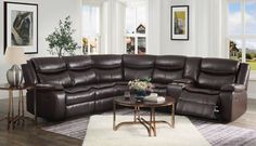 "Acme 52545 3 pc Red barrel studio tavin espresso leather sire sectional sofa with recliners and drink console. This set includes the LAF love seat with recliner, corner wedge, RAF love seat with recliner and drink console. Sectional measures 108"" x 121"" x 36"" D x 40"" H. Some assembly required. Sectional Sofa With Recliner, Couch, Barrel, Console, Love Seat, Red, Leather, Furniture, Home Decor"