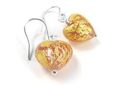 Murano Glass Heart Earrings - Salmon Heart Earrings, Drop Earrings, Murano Glass, Gold Leaf, Sterling Silver Earrings, Clear Glass, Pretty In Pink, Salmon, Crochet Earrings
