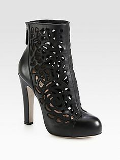 Valentino Leather Cutout Platform Ankle Boots