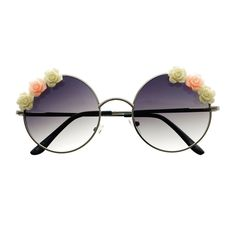 Cute Flower Indie Retro Fashion Style Metal Round Sunglasses R2370