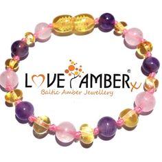 ' Tara ' Pink Rose Quartz Amethyst Lemon Amber Anklet