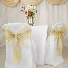 Buy gold metallic web mesh chair sashes for your wedding chair covers at LinenTablecloth! Use them as a chair accent or as wedding décor.