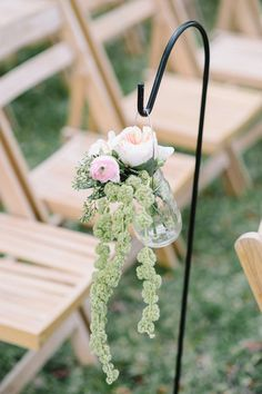 Rustic chic pastel wedding ceremony aisle markers - ranunculuses, Juliet roses and amaranthus {Aaron and Jillian Photography}
