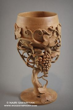 Nairi Safaryan: Wine Goblet with a Bird; pearwood. For more information, please visit www.woodsymphony.com // Perfect for Dionysian libations.